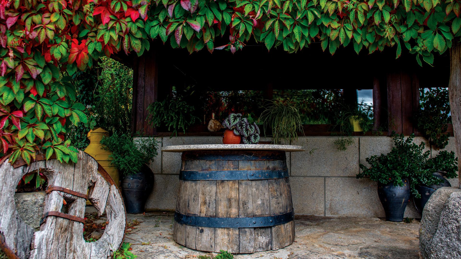 Pátio jardinado da Casa de Souto Velho, com mesa rústica feita a partir de um barril de vinho.